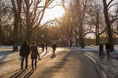 People on walkway in winter royalty free stock image