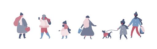 People in warm winter clothes walking on street with dog, going to work, talking on phone vector illustration
