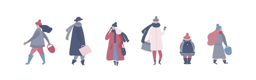 People in warm winter clothes walking on street, going to work, talking on phone vector illustration