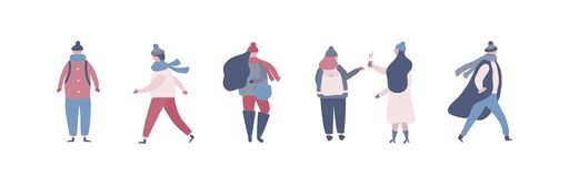 People in warm winter clothes walking on street, going to work vector illustration