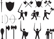 People warriors and medieval weapons Royalty Free Stock Photography