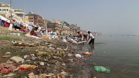 People washing laundry on dirty shore of Ganges. VARANASI, INDIA - 20 FEBRUARY 2015: People washing laundry on dirty shore of Ganges stock video