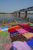 People washing sarees on the river in Agra, India Stock Photo