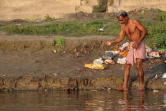 People washing their clothes in Ganges River, Varanasi, India Royalty Free Stock Photos