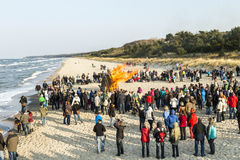 People watch the Easter bonfire at the beach in Zinnowitz, Usedom Stock Image