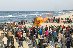 People watch the Easter bonfire at the beach in Zinnowitz, Usedom Royalty Free Stock Images