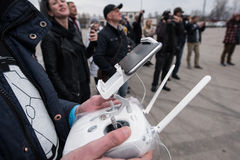 People watch the flight of Dji Inspire 1 drone UAV royalty free stock images