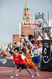 People watch game during Dudu Streetbasket fest Royalty Free Stock Images