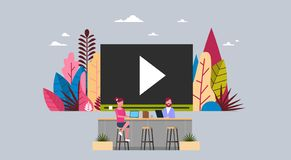People watch media load concept online video stream service player interface business man and woman working together sit. At media office desk flat vector vector illustration