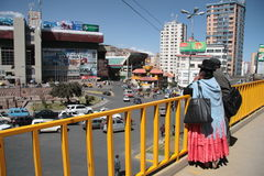 People watch the panorama of La Paz, Bolivia Stock Photo
