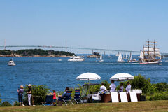 People Watch the Parade of Sail in Newport, RI. Stock Image