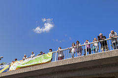 People watch the 51st bicycle race Royalty Free Stock Photo