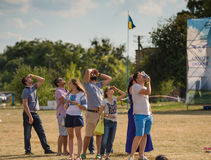 People watching airshow on Kharkiv aerodrome Royalty Free Stock Photo
