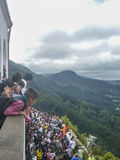 People Watching from Balcony the city of Bogota from Monserrate Stock Images