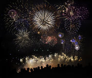 People Watching Beautiful Fireworks Royalty Free Stock Photos