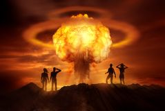 Apocalyptic Nuclear Bomb. People watching the end of the world as a nuclear bomb explodes in front of them. Mixed media illustration Stock Photo
