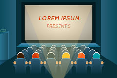 People watching film in cinema. Movie and screen, seat audience, show and concert, auditorium presentation, row and entertainment, vector illustration Stock Photos