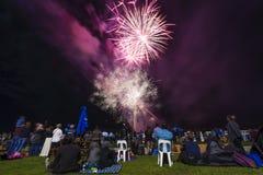 People watching firework display Royalty Free Stock Photos