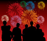 People watching fireworks. Illustration of people watching fireworks vector illustration