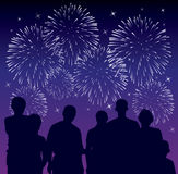 People watching fireworks Royalty Free Stock Photos