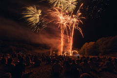 People watching fireworks Royalty Free Stock Images