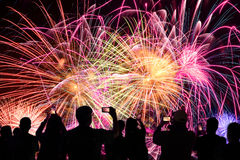 People Watching Fireworks Display royalty free stock photo