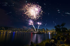 People Watching Fireworks in Portland Oregon. People Watching Fireworks Display Along the Banks of Willamette River in Portland Oregon Royalty Free Stock Photos