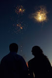 People watching fireworks Royalty Free Stock Photo