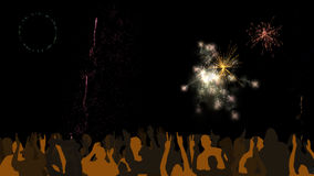 People watching fireworks Stock Images