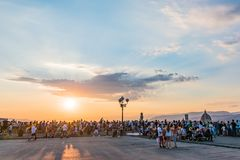 People watching Florence panorama. Sunset from Piazzale Michelangelo. Tuscany, Italy royalty free stock images