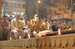People watching Ganga Aarti Ceremony in Varanasi Royalty Free Stock Images