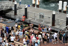 People watching indigenous aboriginal people`s performance. Sydney, Australia - January 26, 2017. People watching indigenous aboriginal people`s performance at Royalty Free Stock Image
