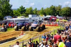 Monster trucks show. People watching monster trucks show in 105th annual goshen fair in torrington connecticut united states Royalty Free Stock Photo
