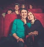 People watching movie in cinema. Group of smiling people watching movie in cinema stock photography