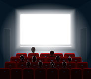 People watching movie at cinema hall.  Film screen. People watching movie at cinema hall. Film screen,  show or concert. Vector illustration Royalty Free Stock Image