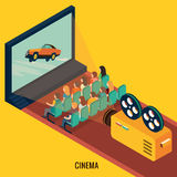 People watching movie in cinema theater. 3d isometric design vector illustration, eps 10 Royalty Free Stock Photo