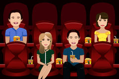 People watching movie. A vector illustration of people watching movie inside a movie theater Stock Photography