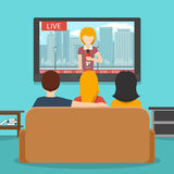 People watching news on television. Vector flat illustration. People watching news on television. Tv news, screen and sofa, man watching television, people Stock Photo