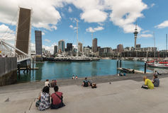 People watching opening of drawbridge in Auckland Royalty Free Stock Photo
