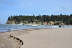 People Watching Paddle Boarders In Sunset Bay State Park, Oregon Stock Image