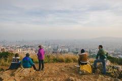 People watching panorama of Barcelona Stock Image