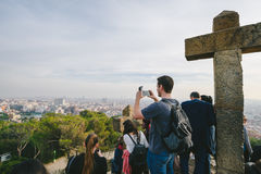 People watching panorama of Barcelona Stock Images