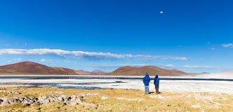People watching pink flamingo birds salt lake, Bolivia. Royalty Free Stock Image
