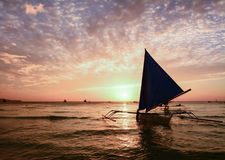People watching the scenic sunset in Boracay. Philippines stock images