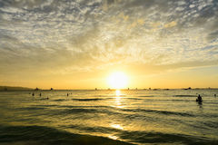 People watching a scenic sunset in Boracay. Philippines royalty free stock images