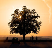 People Watching the Setting Sun Royalty Free Stock Photos