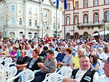 People watching the show. Cluj-Napoca, Romania - May 20, 2018: Huge crowd watching the show in the town center on the traditional Cluj Day festival Royalty Free Stock Images