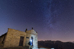 People watching starry sky and Milky Way on the Alps Royalty Free Stock Image
