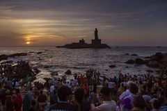 People watching sunrise at kanyakumari tamilnadu india. 31 jul 2016 kanyakumari tamilnadu INDIA. people gathered tosee the sunrise at the bay of bengal ocean in Royalty Free Stock Photography