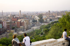 People watching sunset over Cairo in AlAzhar park stock photo